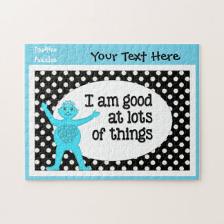 I Am Good At Things Affirmations White Polka Dots Jigsaw Puzzle