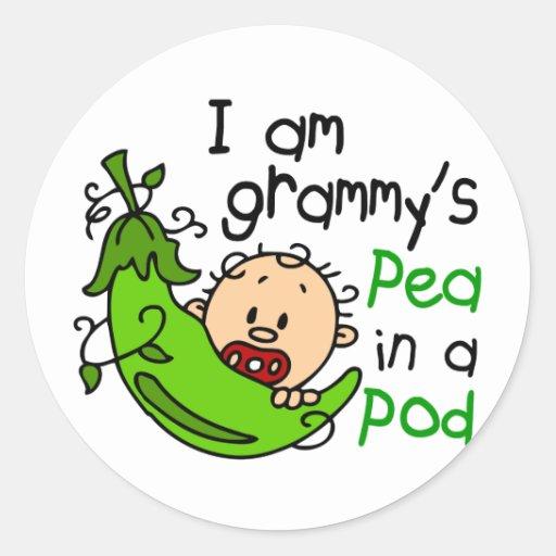 I am Grammy's Pea In A Pod Round Sticker