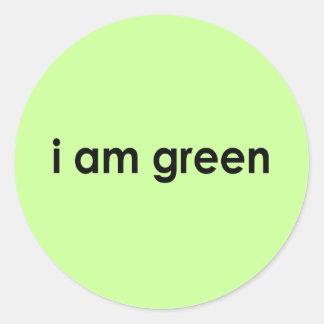 i am green - classic round sticker