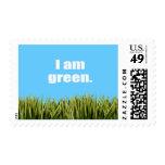 I am green. postage