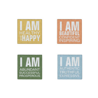 I am Happy Positive Affirmation Statements Stone Magnet
