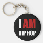 """""""I AM HIP HOP"""" RED LETTER BASIC ROUND BUTTON KEYCHAIN"""