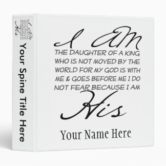 I am His Christian Inspiration 3 Ring Binder