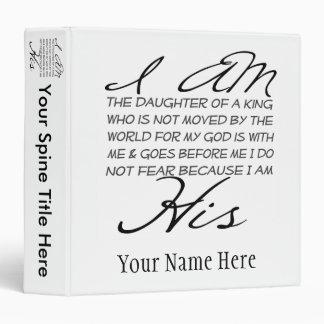 I am His Christian Inspiration 3 Ring Binder