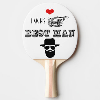 I am HIS Mr. Best Man Hipster Mustache Beard Hat Ping Pong Paddle