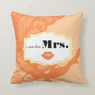I am His Mrs. Mustache Peach Peacock Pillow
