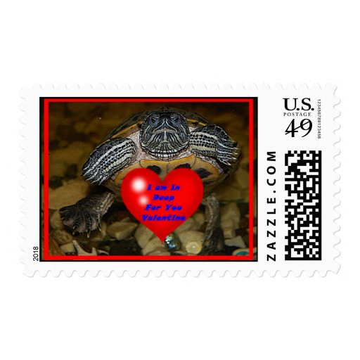 I am In Deep For You Valentine Turtle Postage