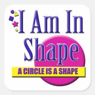 "I Am in Shape ""Fitness"" Slogan Square Sticker"
