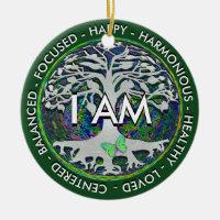 I AM Inspirational Message. Ceramic Ornament