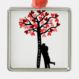 I am Into You valentine's day Square Metal Christmas Ornament