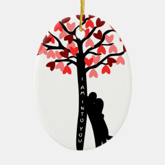 I am Into You valentine's day Double-Sided Oval Ceramic Christmas Ornament