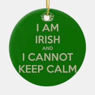 I am Irish and I cannot keep calm funny joke eth Christmas Ornaments
