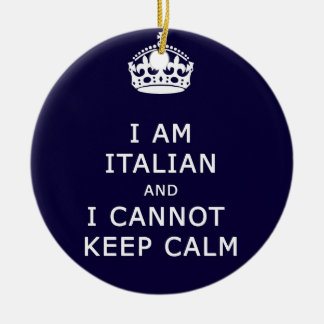I am Italian and I cannot keep calm funny joke eth Double-Sided Ceramic Round Christmas Ornament
