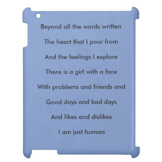 'I am just human' Girl Ipad Case : Blue