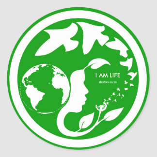 I AM LIFE Mon Crest Sticker whitetext