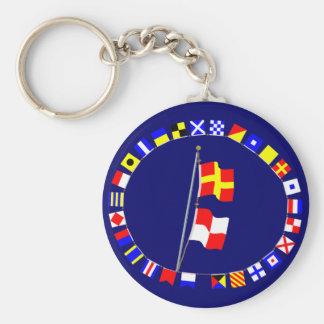 I am maneuvering with difficulty Signal flag Hoist Basic Round Button Keychain