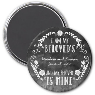 I Am My Beloved's, Wedding Black Watercolor 3 Inch Round Magnet