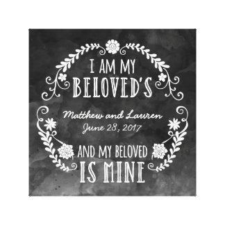 I Am My Beloved's, Wedding Black Watercolor Canvas Print