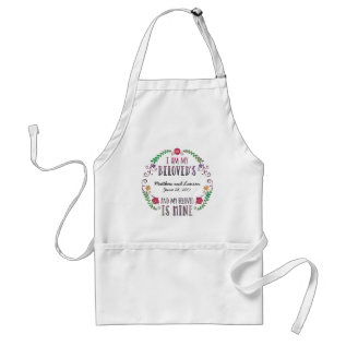I Am My Beloved's, Wedding Date Watercolor Adult Apron at Zazzle
