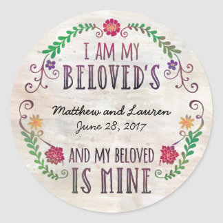 I Am My Beloved's, Wedding Date Watercolor Classic Round Sticker