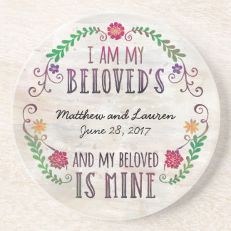 I Am My Beloved's, Wedding Date Watercolor Sandstone Coaster