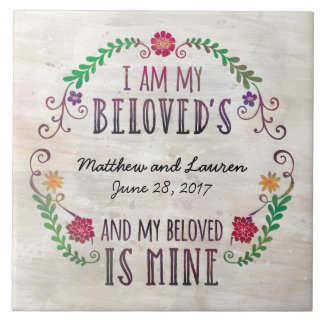 I Am My Beloved's, Wedding Date Watercolor Tile