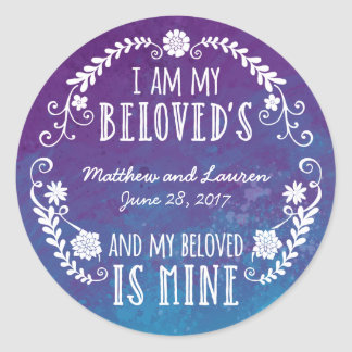 I Am My Beloved's, Wedding Watercolor Blue Classic Round Sticker