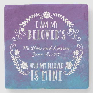 I Am My Beloved's, Wedding Watercolor Blue Stone Coaster