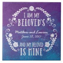 I Am My Beloved's, Wedding Watercolor Blue Tile