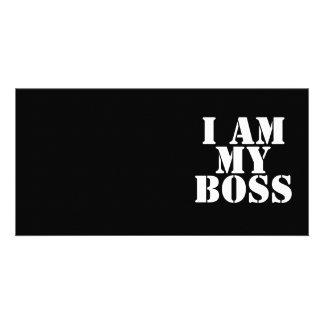 I am My Boss Slogan Custom Photo Card