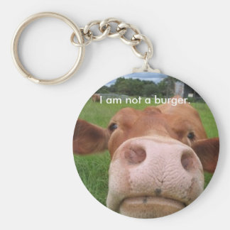 I am not a burger. basic round button keychain