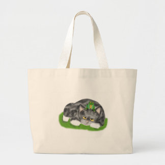 I am not a Lily Pad Meows Kitten Large Tote Bag