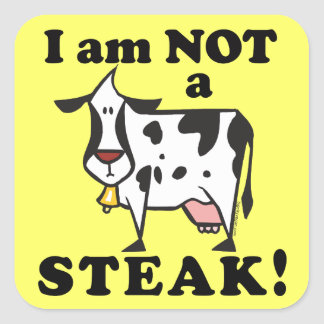 I am Not a Steak Animal Rights Square Stickers
