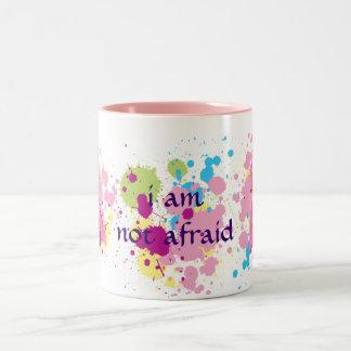 I am not afraid pink ribbon splat Mug