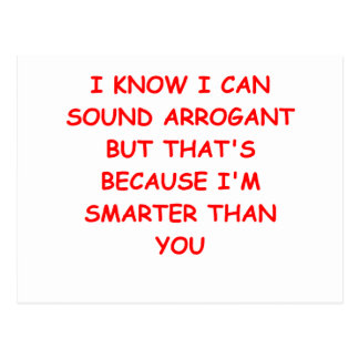 i am not arrogant postcard