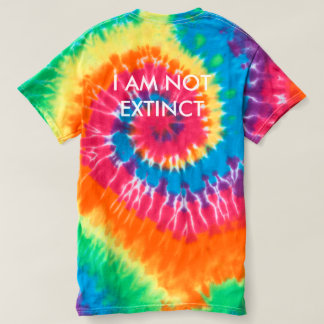 """I AM NOT EXTINCT"" WHITE DINOSAUR TYE-DYE T-SHIRT"