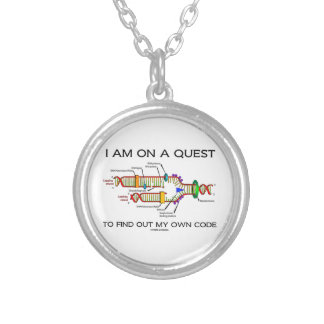 I Am On A Quest To Find Out My Own Code DNA Humor Round Pendant Necklace