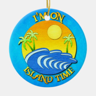 I Am On Island Time Double-Sided Ceramic Round Christmas Ornament
