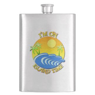 I Am On Island Time Flask