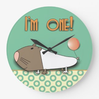 I am One! Cute Guinea Pig Kids Wall Clock