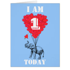 I am one today fun childrens card
