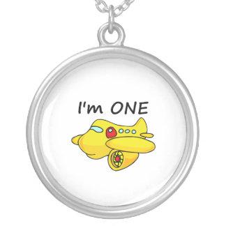 I am One, Yellow Plane Round Pendant Necklace