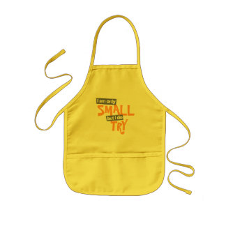 """I am only small but I do try"" orange / grey apron"