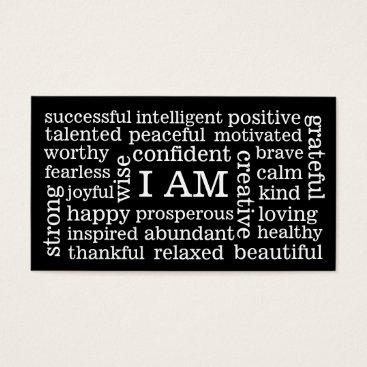 EatGreenFood I AM Positive Affirmations for Self Image Wellness Business Card