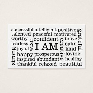 I AM Positive Affirmations for Self Image Wellness Business Card