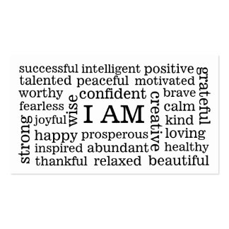 I AM Positive Affirmations for Self Image Wellness Double-Sided Standard Business Cards (Pack Of 100)