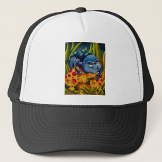 I am precisely three inches tall. trucker hat
