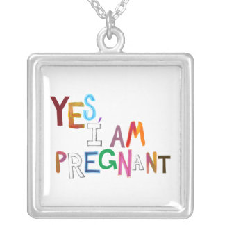 I am pregnant fun colorful pregnancy art words custom necklace