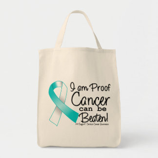 I Am Proof Cervical Cancer Can Be Beaten Grocery Tote Bag