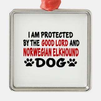 I Am Protected By The Good Lord And Norwegian Elkh Metal Ornament